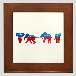 Republican Elephants Framed Tile