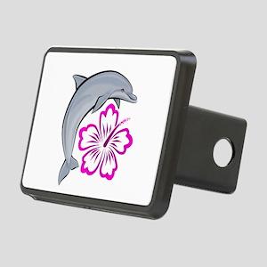 Dolphin-flower-pink-dark Rectangular Hitch Cov