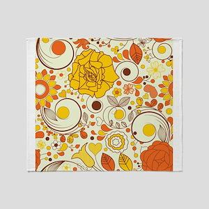 70s Autumn Floral Print Throw Blanket