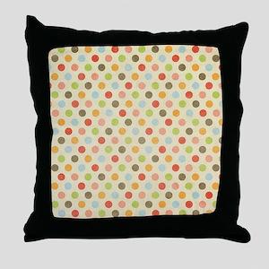 Faded Rainbow Polka Dot Throw Pillow