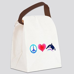 PeaceLoveOrca-Dark Canvas Lunch Bag