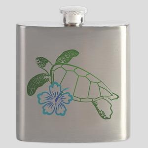 TurtleFlowerBlue Flask
