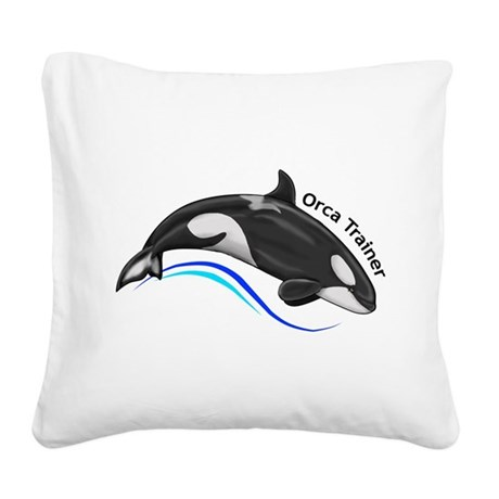 Orca Trainer Square Canvas Pillow