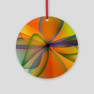 Orange Swirl Flower Ornament (Round)