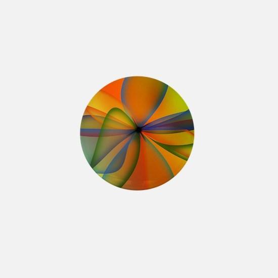 Orange Swirl Flower Mini Button