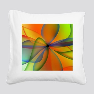 Orange Swirl Flower Square Canvas Pillow