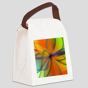 Orange Swirl Flower Canvas Lunch Bag