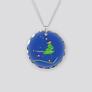 Christmas Tree Runner Necklace Circle Charm