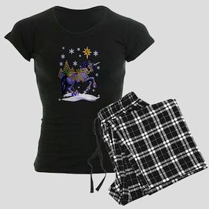 Bright Christmas Unicorn Women's Dark Pajamas