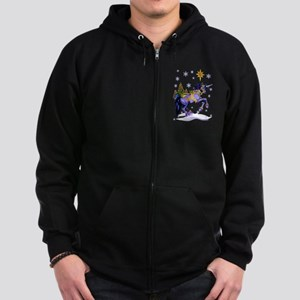 Bright Christmas Unicorn Zip Hoodie (dark)