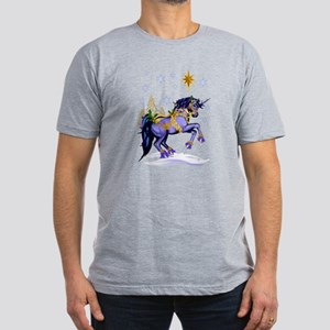 Bright Christmas Unicorn Men's Fitted T-Shirt (dar