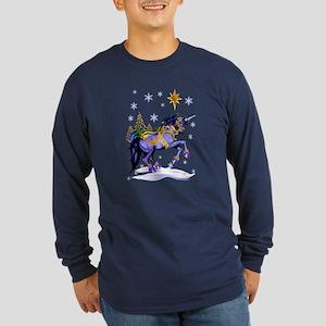 Bright Christmas Unicorn Long Sleeve Dark T-Shirt