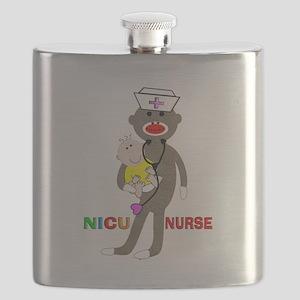 NICU Nurse sock monkey Flask