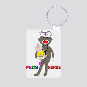 PEDS Nurse sock monkey Aluminum Photo Keychain