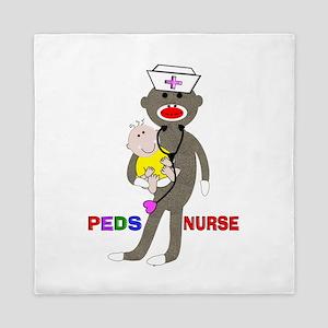 PEDS Nurse sock monkey Queen Duvet