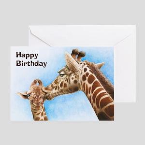 Giraffe and Calf Greeting Card