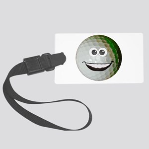 Happy golf ball Large Luggage Tag