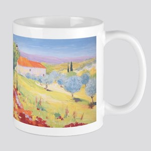 Cottage with Olive Garden Painting Mug