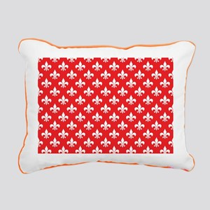Fleur-de-lis on red Rectangular Canvas Pillow