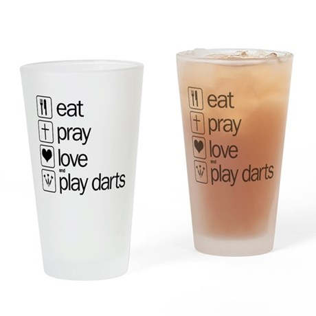 eat play love and play darts Drinking Glass