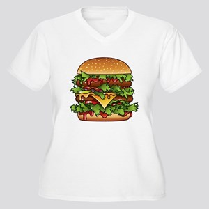 Yummy Hamburger Women's Plus Size V-Neck T-Shirt