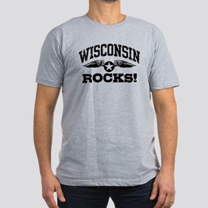 Wisconsin Rocks Men's Fitted T-Shirt (dark)