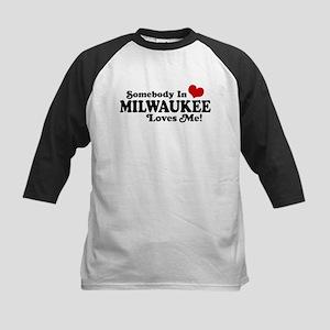 Somebody In Milwaukee Loves Me Kids Baseball Jerse