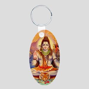 Lord Shiva Meditating Aluminum Oval Keychain