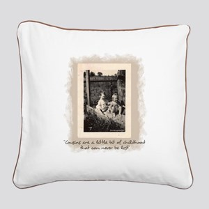 Cousins and Childhood Square Canvas Pillow