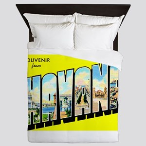 Havana Cuba Greetings Queen Duvet