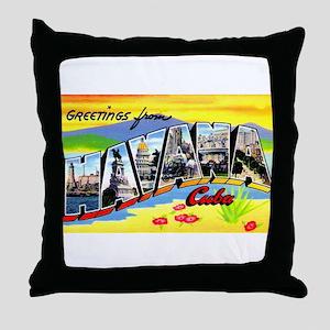 Havana Cuba Greetings Throw Pillow