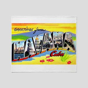 Havana Cuba Greetings Throw Blanket