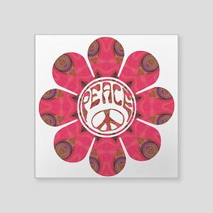 "Peace Flower - Affection Square Sticker 3"" x"