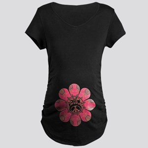 Peace Flower - Affection Dark Maternity T-Shirt