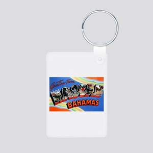 Nassau Bahamas Greetings Aluminum Photo Keychain