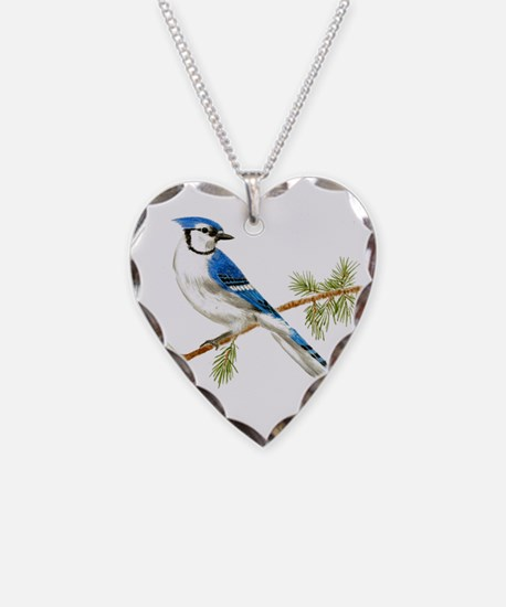 Blue Jay Heart Necklace