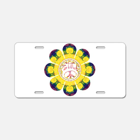 Peace Flower - Omm Aluminum License Plate