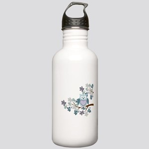 Winter Polka Owl in Tree Stainless Water Bottle 1.