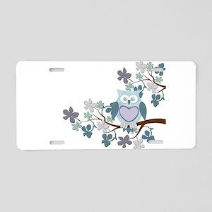Winter Polka Owl in Tree Aluminum License Plate