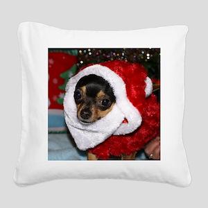 Chihuahua Santa Square Canvas Pillow