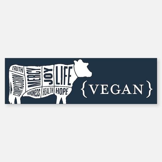 Words to Live By Cow Bumper Sticker, Dark Blue