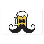 Beer Mustache Sticker (Rectangle 10 pk)