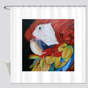 3-Scarlet Macaw Shower Curtain