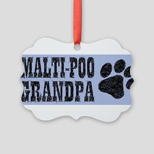 Maltipoo Grandpa Picture Ornament