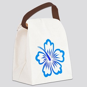 Hibiscus-blue Canvas Lunch Bag