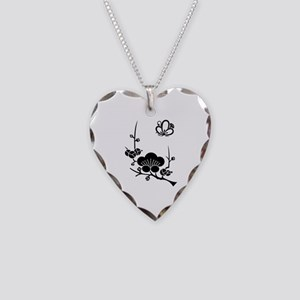 ume blossoms and butterfly Necklace Heart Charm