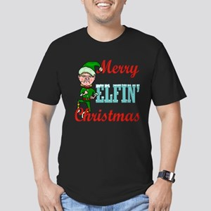 Funny Elfin Christmas Men's Fitted T-Shirt (dark)