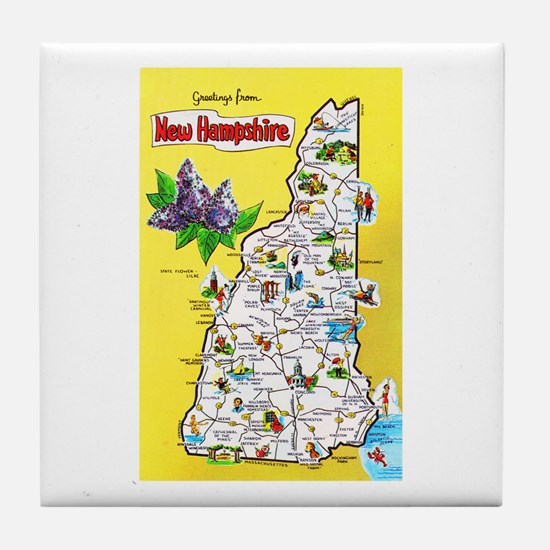 New Hampshire Map Greetings Tile Coaster