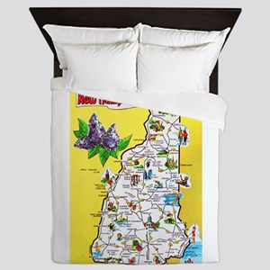 New Hampshire Map Greetings Queen Duvet