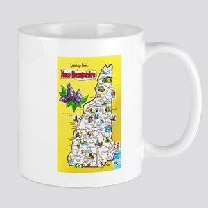 New Hampshire Map Greetings Mug